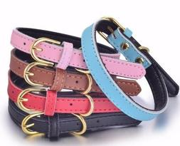 100% Genuine Leather Dog Pet Collar Soft Padded Comfortable