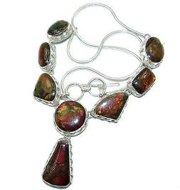 Ammolite Necklace 925 Sterling Silver + Free Shipping  by Si