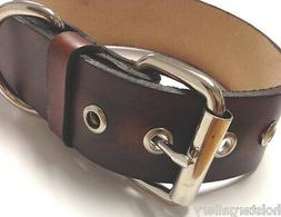 """Brown Leather Dog Collar 1.5"""" Wide Can Personalize Custom Ha"""