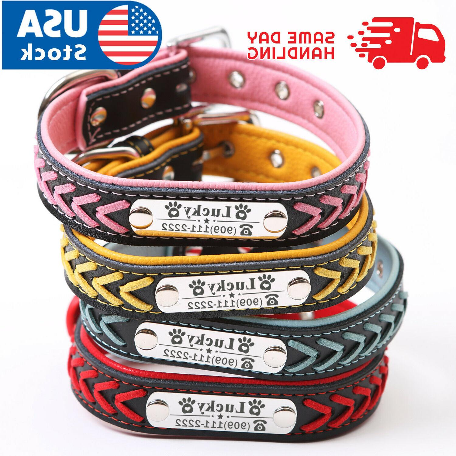 personalized dog collar braided leather padded name