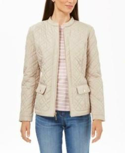 MSRP $68 Charter Club Quilted Mandarin-Collar Jacket Beige S