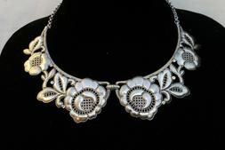 NWT Authentic Brighton Victoria Silver Flower & Crystal Coll