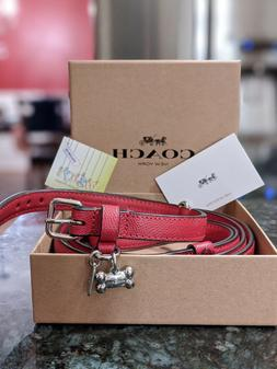 NWT Coach F26177 Small Pet Dog Collar in Crossgrain Leather