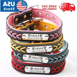 Personalized Dog Collar Braided Leather Padded Name ID Tag E