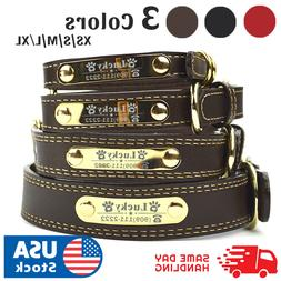 PU Personalized Dog Collars Name ID Collar with Name plate X