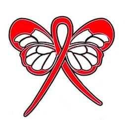 Red Awareness Ribbon Pin Butterfly Cancer Cause Support Coll