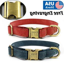 soft leather personalized dog collar engrave id
