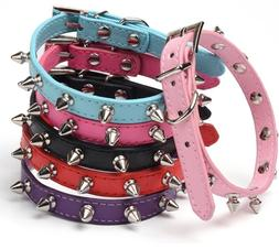 Studded Small Spiked Rivet Dog Pet Leather Collar Pink Red B