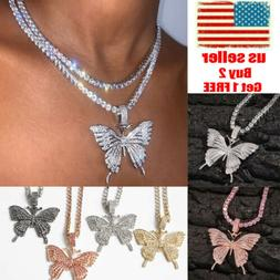 Sweater Butterfly Pendant Necklace Rhinestone Crystal Chain