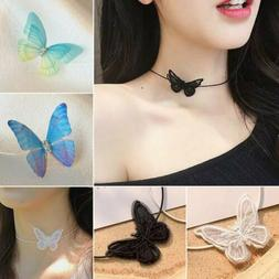 Women Lace Butterfly Pendant Necklace Ladies Chain Clavicle